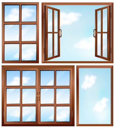 Fensterrahmen aus Holz mit Sprossen