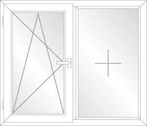 Balkontür Dreh-Kipp-Links (DKL) / Festverglast (F) PVC Schwelle