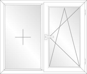Balkontür Festverglast (F) / Dreh-Kipp-Rechts (DKR) PVC Schwelle